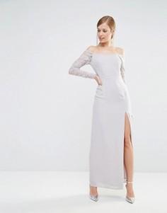 Платье макси с открытыми плечами и кружевными рукавами Elise Ryan - Серый