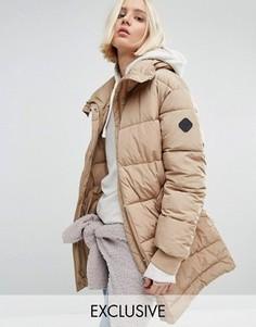 Удлиненная дутая оversize-куртка Puffa - Бежевый
