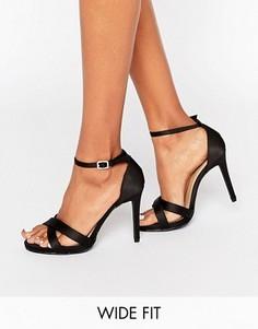 Босоножки для широкой стопы на каблуке под замшу New Look - Черный