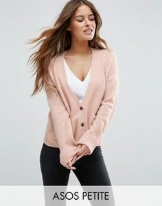 Кардиган с добавлением шерсти и карманами ASOS PETITE - Розовый