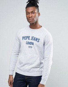 Свитер с логотипом и карманом Pepe Jeans - Серый