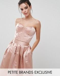 Атласный топ Chi Chi London Petite - Розовый