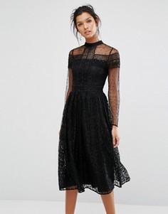 Кружевное платье миди с отделкой бисером Frock and Frill - Черный