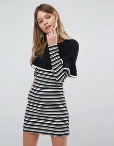 Облегающее платье в полоску с оборками Fashion Union - Черный