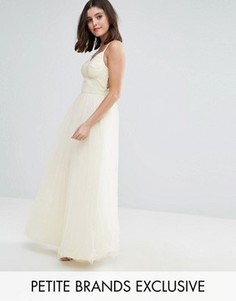 Chi Chi London Petite Strappy Corset Top Maxi Tulle Prom Dress - Кремовый