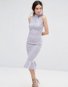 Платье миди с кружевным лифом и шлейфом Missguided - Серый