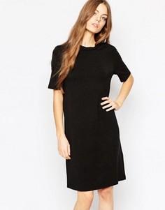 Меланжевое полушерстяное платье с коротким рукавом Selected Metta - Серый