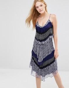 Шелковое платье миди Greylin Murakell - Темно-синий