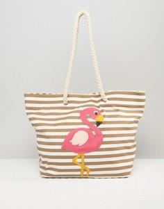 Пляжная сумка с фламинго Chateau - Бежевый