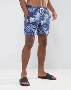 Синие однотонные шорты для плавания с цветочным принтом Timberland - Синий