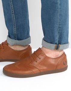 Кожаные кроссовки в стиле брогов Fred Perry Byron - Рыжий