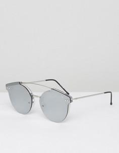 Круглые солнцезащитные очки с планкой сверху в прозрачной серебристой оправе Spitfire - Прозрачный