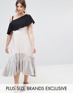 Платье миди с эффектом металлик, плиссированной юбкой и асимметричным подолом Coast Plus Tonya - Кремовый