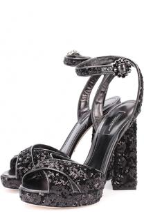 Босоножки с вышивкой пайетками на устойчивом каблуке Dolce & Gabbana