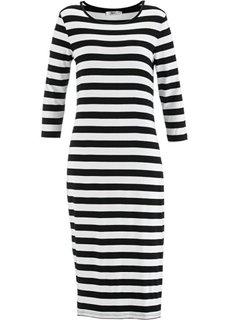 Трикотажное платье с рукавами 3/4 (черный/белый в полоску) Bonprix