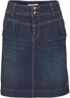 Джинсовая юбка стреч (темно-синий «потертый») Bonprix