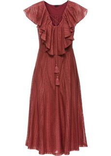 Кружевное платье с воланами (бордово-коричневый) Bonprix