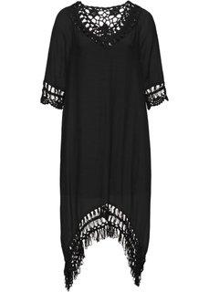 Платье с плетеной отделкой (черный) Bonprix