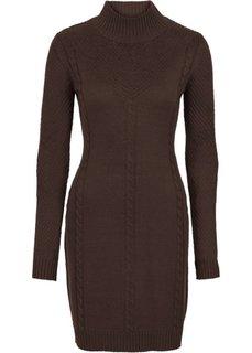 Вязаное платье с ажурным узором (коричневый) Bonprix