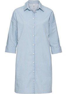 Платье-рубашка с широкими манжетами (нежно-голубой/белый в полоску) Bonprix