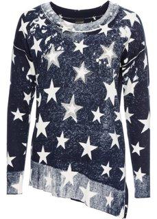 Пуловер с асимметричным нижним краем (темно-синий/белый с узором) Bonprix