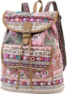 Рюкзак с вышивкой и пайетками (синий/ярко-розовый) Bonprix