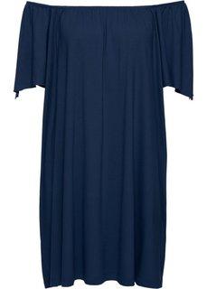Трикотажное платье с вырезом Кармен (темно-синий) Bonprix