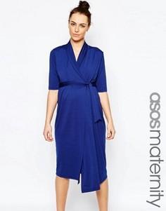 Платье для беременных с запахом ASOS Maternity - Темно-синий