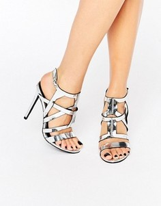 Босоножки на каблуке с отделкой металлик Missguided - Серебряный