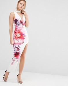 Платье миди с глубоким вырезом спереди и высоким разрезом Ginger Fizz - Мульти