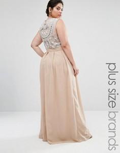 Платье макси с декоративной отделкой сзади Lovedrobe Luxe - Бежевый