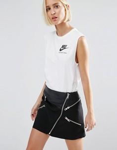 Удлиненный двухслойный топ Nike International - Белый
