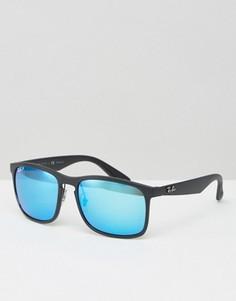 Вайфареры с синими зеркальными стеклами Ray-Ban 0RB4264 - Черный