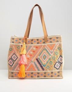 Джутовая сумка с вышивкой Seafolly - Мульти