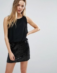 Ярусное платье с пайетками на юбке Jasmine - Черный