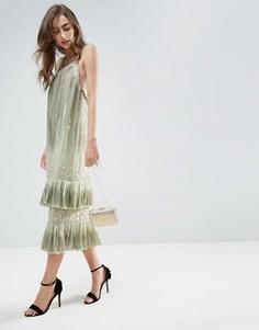 Платье миди с двухслойным удлиненный краем ASOS GOLD - Зеленый