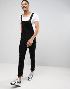 Черный джинсовый комбинезон скинни ASOS - Черный