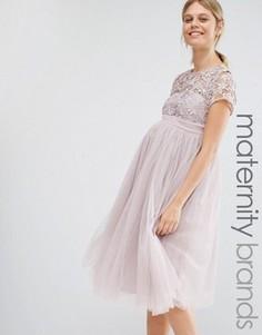 Платье мини для беременных с кружевным топом Little Mistress Maternity - Розовый