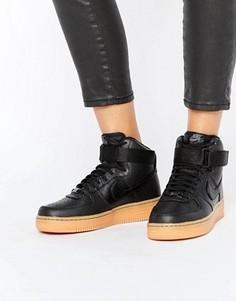 Черные кроссовки средней высоты на каучуковой подошве Nike Air Force 1 07 - Черный