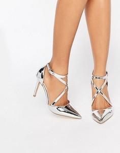 Туфли на каблуке с острым носом и ремешками накрест Miss KG Shelby - Серебряный