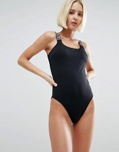 Слитный купальник с глубоким квадратным вырезом Calvin Klein - Черный