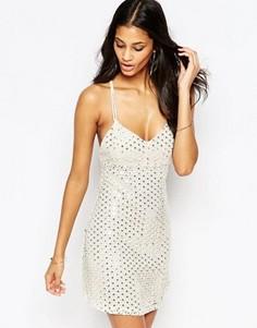 Короткое приталенное платье с пайетками Glamorous - Золотой