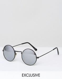 Круглые солнцезащитные очки с зеркальными стеклами Reclaimed Vintage - Черный
