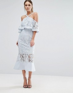 Кружевное платье миди с открытыми плечами Jarlo - Синий