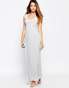 Платье макси с кружевными рукавами Elise Ryan - Серый