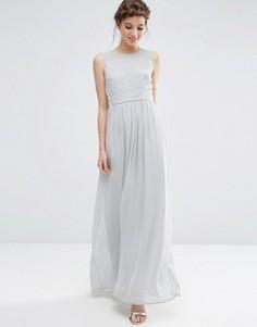 Платье макси с вышитыми бисером цветами ASOS - Серый