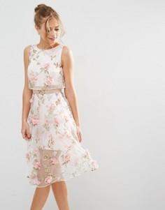 Розовое платье миди с укороченным топом и цветочной отделкой с 3D эффектом ASOS SALON - Розовый