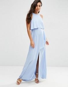 Платье макси с разрезом и кроп-топом ASOS - Синий