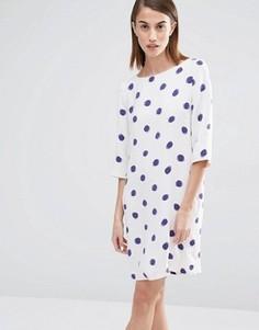 Платье в горошек с рукавами 3/4 Selected Fria - Мульти