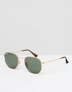 Солнцезащитные очки с плоскими линзами в золотистой оправе Ray-Ban - Золотой